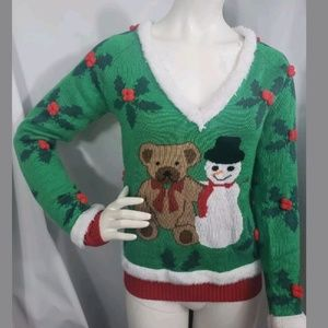 Tipsy Elves Ugly Christmas Sweater Snowman Bear